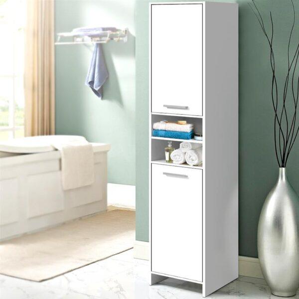 Artiss 185cm Bathroom Tallboy Toilet Storage Cabinet Laundry Cupboard Adjustable Shelf White